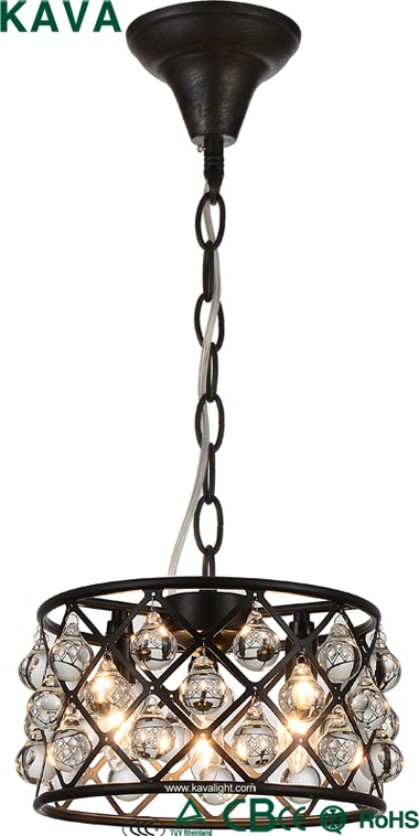 New Products-Pendant lights - American Country Style Loft Chandeliers crystal Pendant lights with crystal  iron